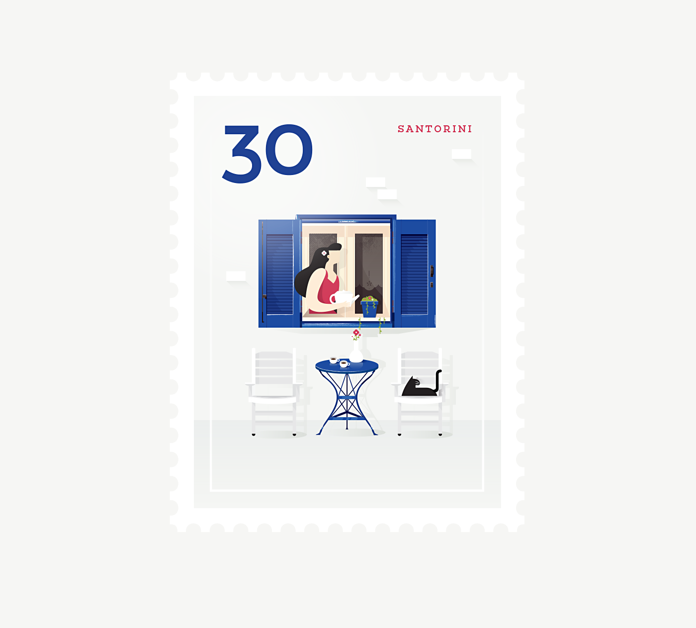 Stamp : Cities - Santorini